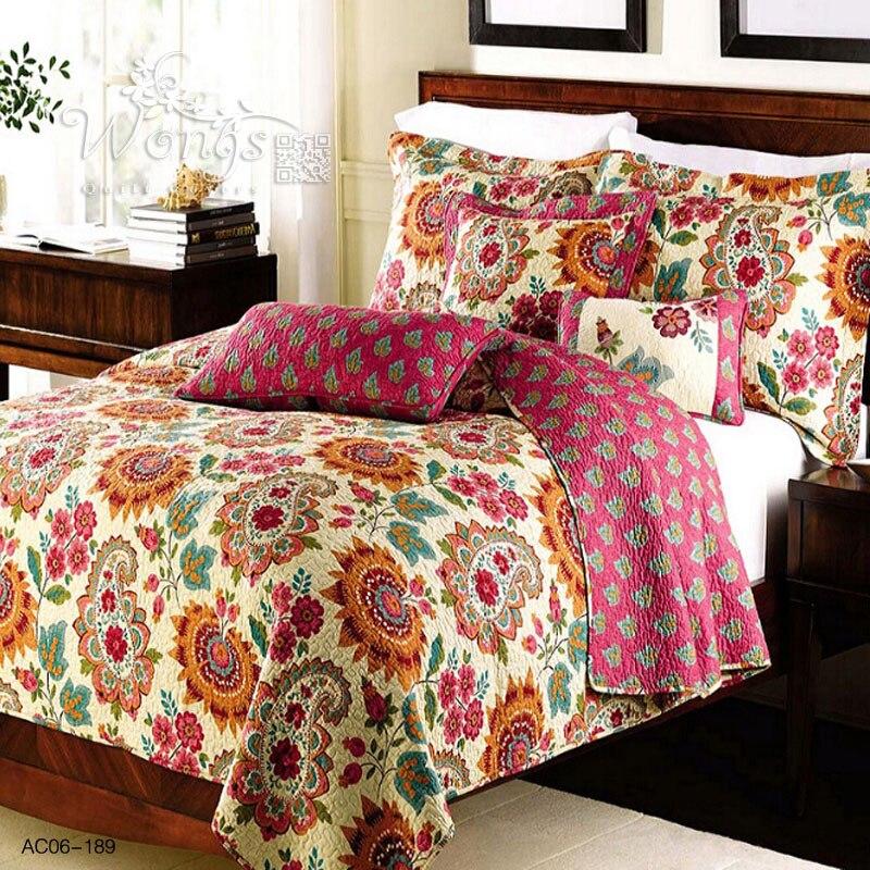 綿 100% のベッドカバーベッドカバー枕ケースキングサイズの花柄ホームテキスタイル手作り高品質ベッドカバー枕ケース 3 ピース  グループ上の ホーム&ガーデン からの ベッドカバー の中 1