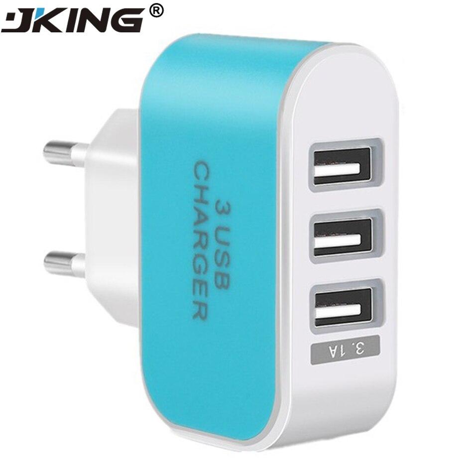 3 Port Phone Charger Universal USB Charge Portable EU Plug Travel ...