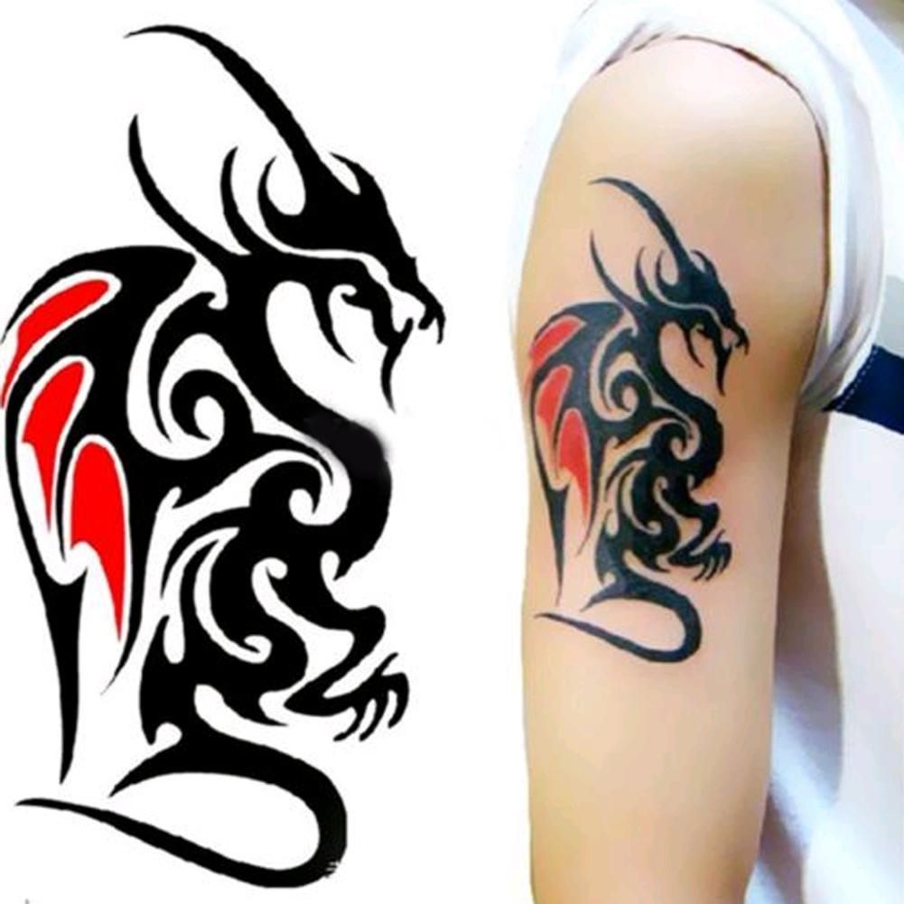 Waterproof Temporary Tattoo Sticker Of Body 10.5*6cm Cool Man Dragon Tattoo Totem Water Transfer High Quality 1