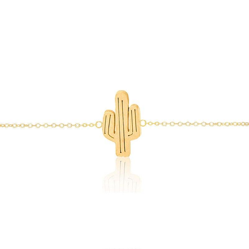 GORGEOUS TALE náramky Femme Gold Color Leg Chain Cactus Anklets pro ženy Kotník náramek řetízek Foot Jewelry Beach Doplňky
