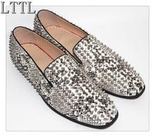 LTTL Snakeskin Spikes Shoes Men Slip-on Loafers with Rivets Low Heeled Men's Flats Shoes Driving Moccasins Mens Espadrilles