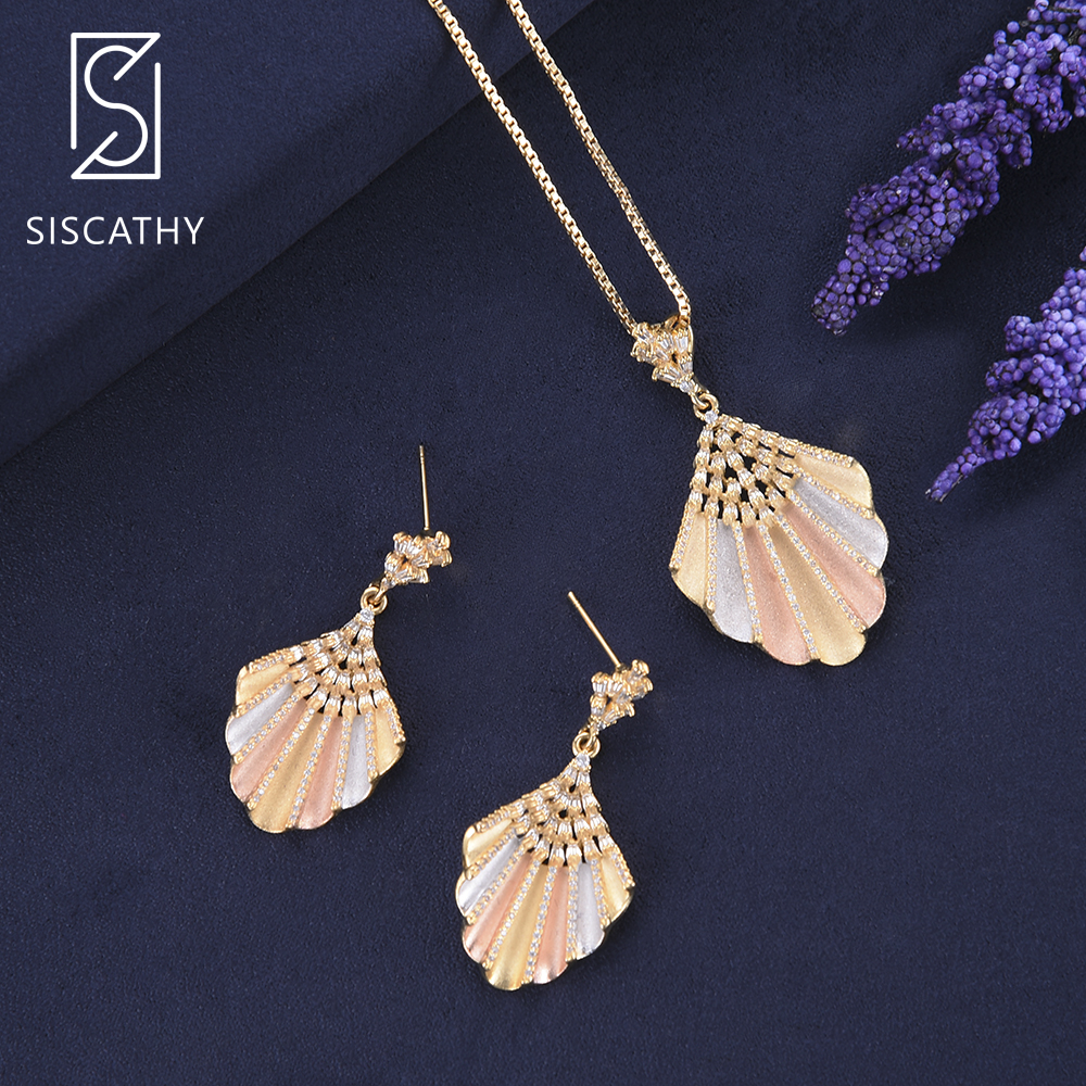 SISCATHY Luxury Cubic Zirconia Long chain necklace earrings jewelry set For Dubai Nigerian Wedding Engagement jewelry sets more