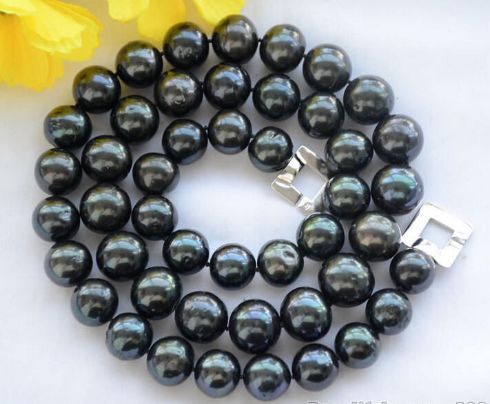 FREE shipping>>>> 12mm ROUND Tahitian black Freshwater cultured PEARL NECKLACE