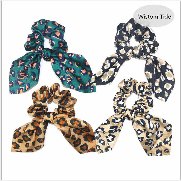 Elastic Hair Bands Leopard Print Rabbit Ears Soft Chiffon Hair Scrunchie Headband For Women Hair Ties Stretchy Hair Accessories
