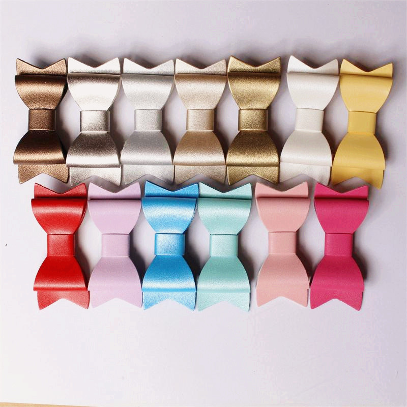New 15 Colors PU Leather Barrettes 30pcs/lot Synthetic Leather Bow Hair Clips Baby Girls Hotsale Felt Bowknot Baby Hairpins