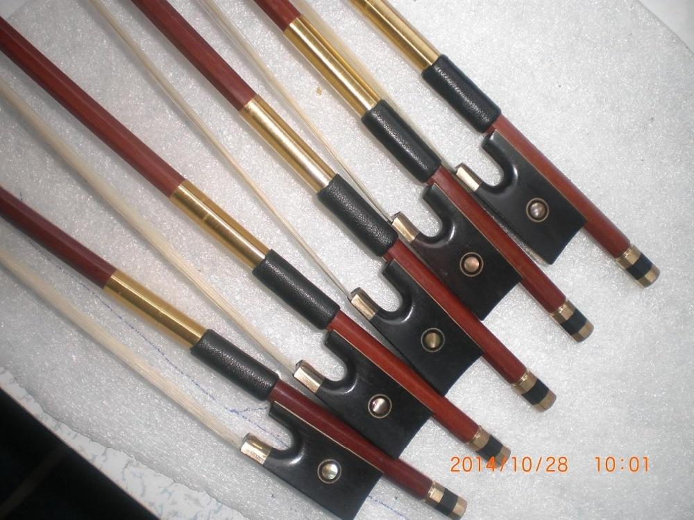 5 PCs High Quality Brazil Wood Violin Bow 4/4 with Ebony abalone shell Octagonic5 PCs High Quality Brazil Wood Violin Bow 4/4 with Ebony abalone shell Octagonic