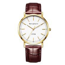Alemão Marca Bergmann Bauhaus Estilo Vintage Relógios Homens Relógios de Quartzo de Couro Genuíno Extra Fino Caso fino Casual Presente Relógio de Pulso 1938