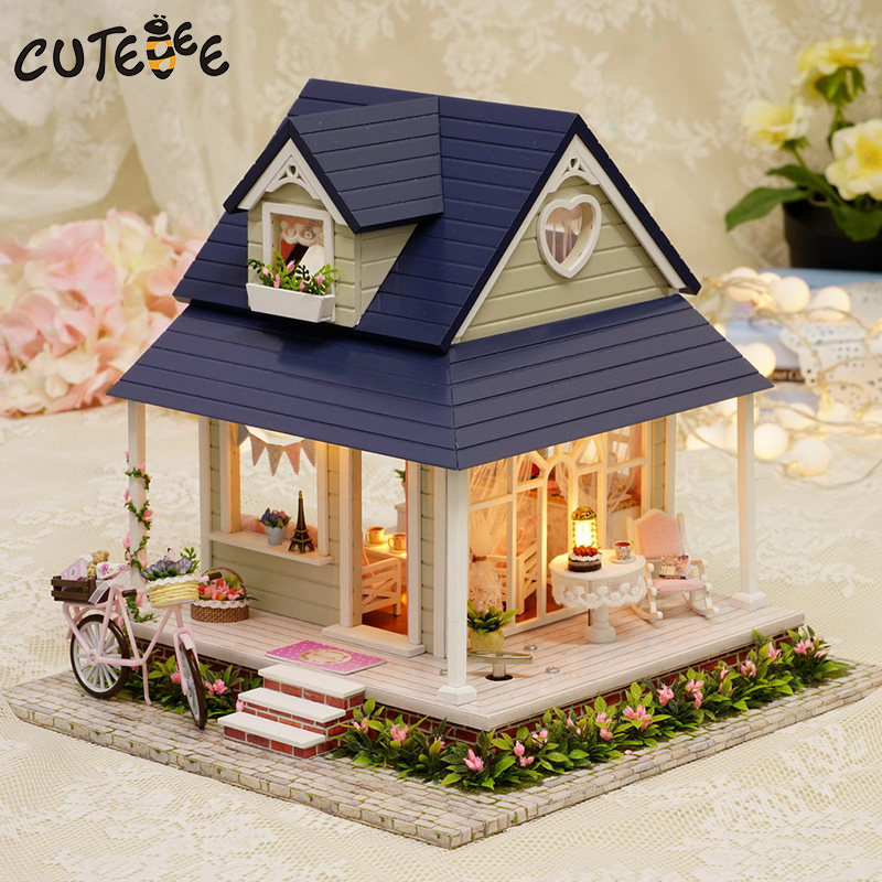 CUTEBEE Doll House Miniature DIY Dollhouse With Furnitures Wooden House Toys For Children Birthday Gift A60 cutebee doll house miniature diy dollhouse with furnitures wooden house toys for children birthday gift hordic holiday a030