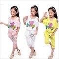 2016 conjunto da menina das crianças do verão meninas roupas set moda O-pescoço Dos Desenhos Animados calf-comprimento calças terno tamanho 120-160 para 3-10 T