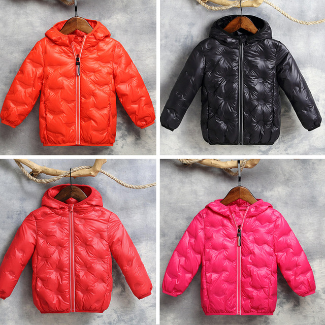 8ba3735ba52f 2018 Winter Boy Girl Thick Warm White Duck Down Jackets Kids Candy ...