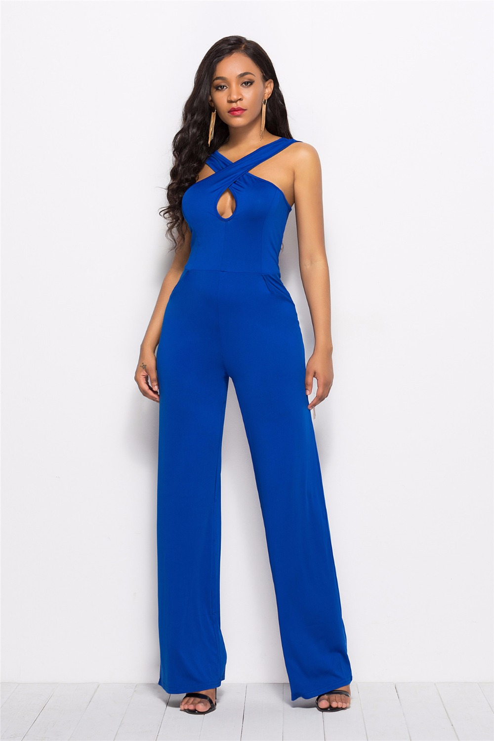 Sexy Bodysuit Catsuit Jumpsuit Women Polyester Real 2018 New Style Womens Sexy Straps Solid Color Backless Wide Feet Jumpsuit