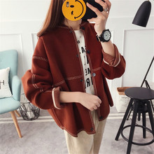 2017 New Women's Autumn Winter O-neck Long Sleeve Retro Suture Knit Cardigans Coat Woman Loose Single Breasted sweaters coats