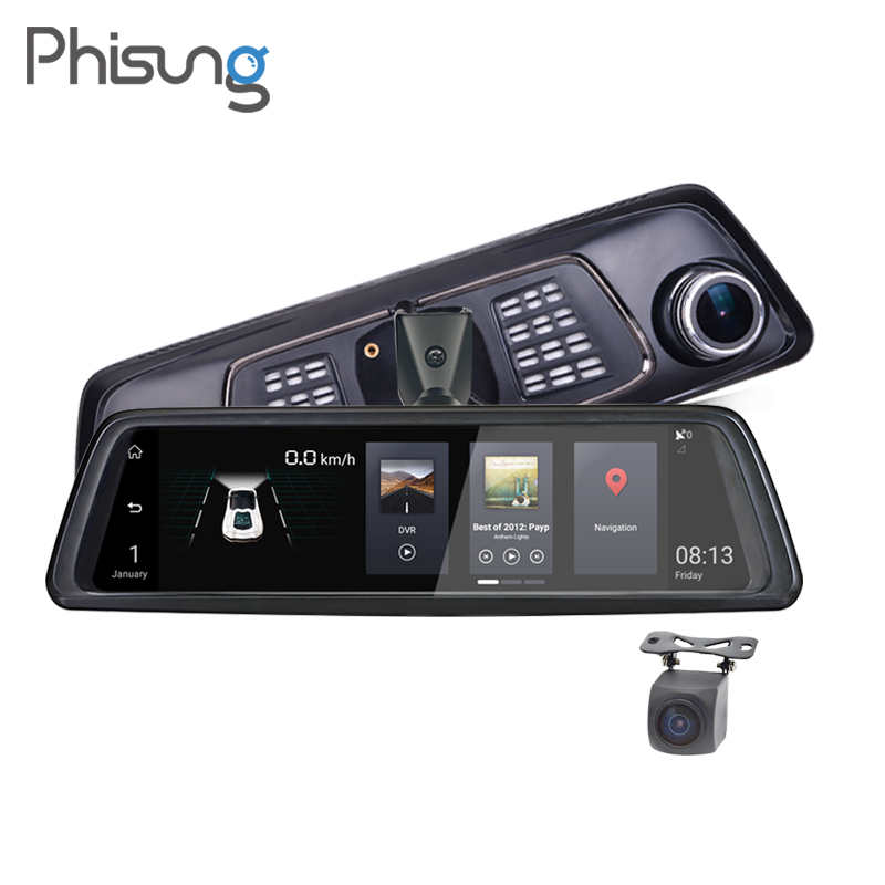 Phisung Car DVR Rearview-Mirror-Camera Dual-Lens ADAS Vehicle Bt-Wifi 1080P FHD GPS 4G