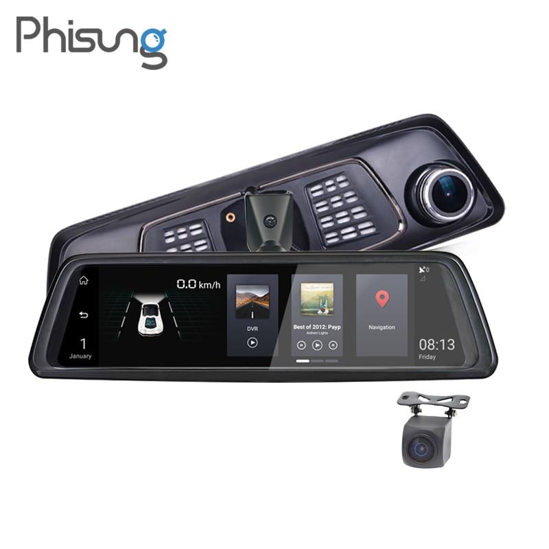 Phisung V9 10 сенсорный IPS 4 г Android зеркало GPS FHD 1080 P два объектива Видеорегистраторы для автомобилей Автомобиль зеркало заднего вида камера ADAS BT ...