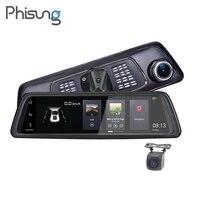 Phisung V9 10 Full Touch IPS 4G Android Mirror GPS FHD 1080P Dual Lens Car DVR