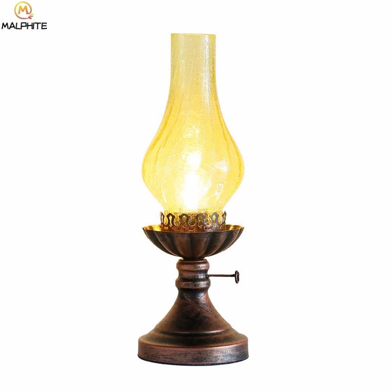 American Retro Kerosene Table Lamp Vintage Bedroom Bedside Lighting Table Light Bar Iron Kitchen Fixtures Crack Glass Luminaires