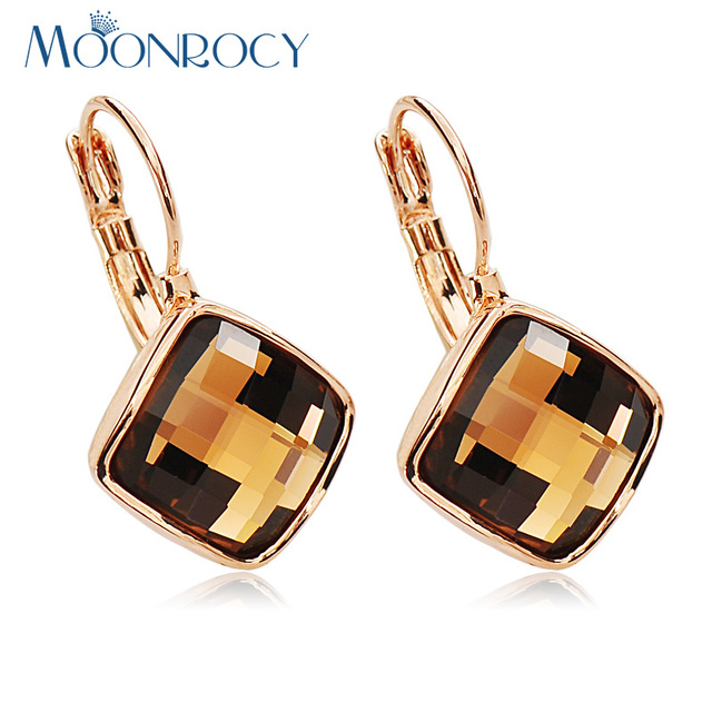 MOONROCY Free Shipping Jewelry Rose Gold Color Brown Blue Green Purple Red Square Crystal Earrings for Women Gift Drop Shipping