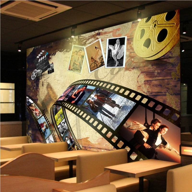 Custom Size Photo nostalgia European American film background wall lobby home decoration living room cinema mural wallpapers new bar european wallpapers wall paper entertainment place lobby walking house bedroom living room decorative flash wall cloth