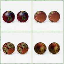 LETS SLIM Earth World Map Seven Oceania Time Glass Cufflinks Globe Mens Shirt Charm Global DIY Photo Customization