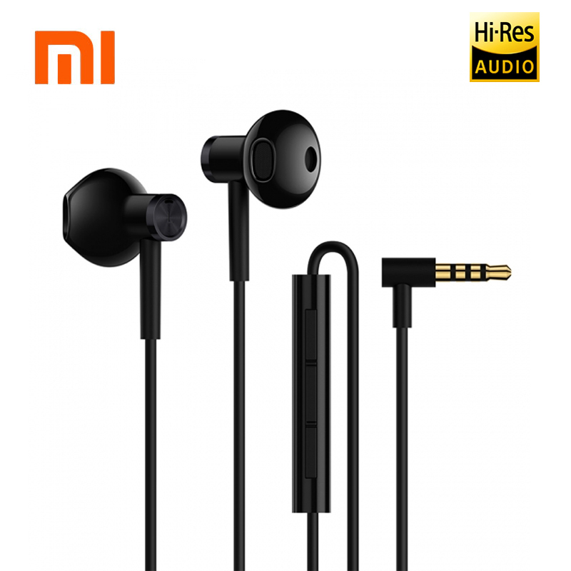Newest Original Xiaomi Mi Dual Units Half In-Ear Earphones 3.5MM Wire Control Xiaomi Earphones for Mi A1 Redmi 5 Plus Smartphone