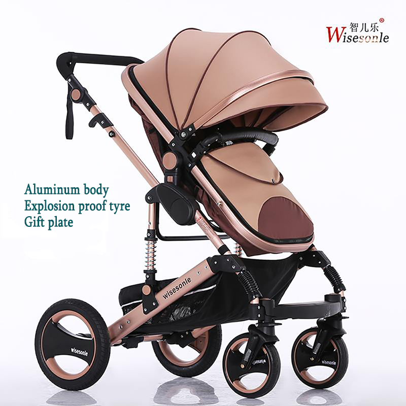 Wisesonle High landscape baby stroller can sit lying folding two-way four wheel cart summer twin stroller high landscape can lay the portable folding baby cart