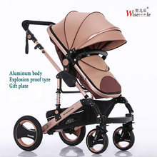 Wisesonle High landscape baby stroller can sit lying folding two way four wheel cart summer