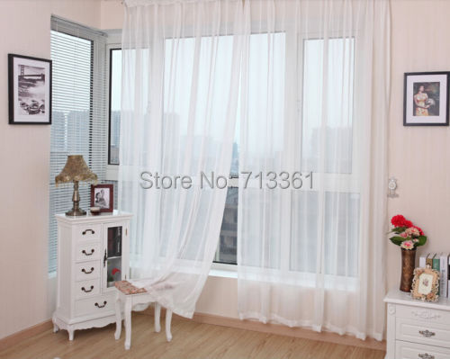 Online Shop Sheer White Voile Scarf Curtain Panel Sets Curtains ...