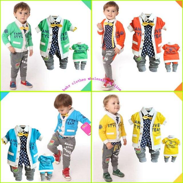 Children clothing sets cotton hot clothes pants boy dot printed blouse+kid pants+boy spring coat gentleman suit baby