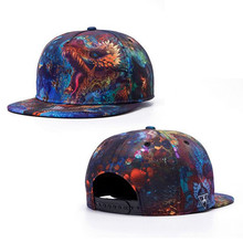 Men Fashion Vintage Printed Dragon Snapback Baseball Hats Hip Hop Cap Blue