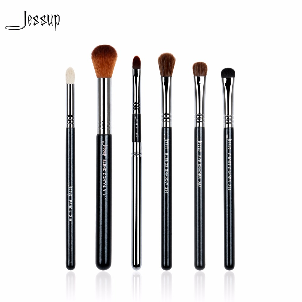 Jessup Brushes 6pcs Pro Sets Black/Silver beauty Tools Make Up Brushes Kit Pencil Eye Shader Blend Contour Shadow Lip T130 menu чаша black contour