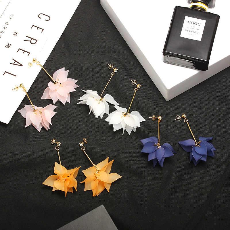 2018 Corea Moda Nuovo Elegante petali di Fiori e foglie di Orecchini a pendaglio Sveglio a lungo con frange Orecchini Gioelleria raffinata e alla moda Per Le Donne