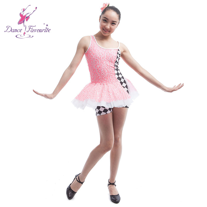 Child pink sequin overlay bodice dance tutu women & girl stage performance ballet costume tutu jazz/tap dance costume dress
