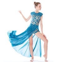 MiDee Elegant Maxi Dress Lyrical Dance Costumes Modern Ballet Dance Dress Skating Gymnastics Leotard Stage Competition Wear