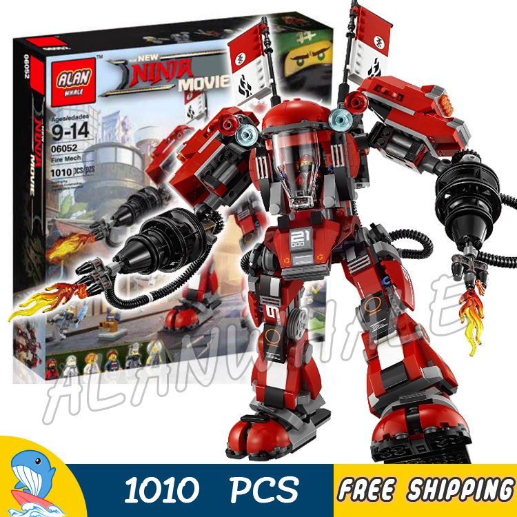 1010pcs New Ninja Fire Mech Battle Huge Robots 10720 Model Building Blocks Children Assemble Toys Bricks Compatible With lego 890pcs new ninja lair invasion diy 10278 model building kit blocks children teenager toys brick movie games compatible with lego