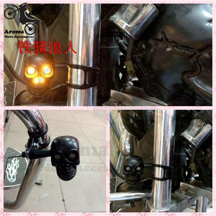 skeleton style skull scooter front rear turn signals indicators silver moto turn signal light for harley LED motorcycle flashers