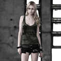 PUNK RAVE punk style green knitted tank tops with skull design T-349