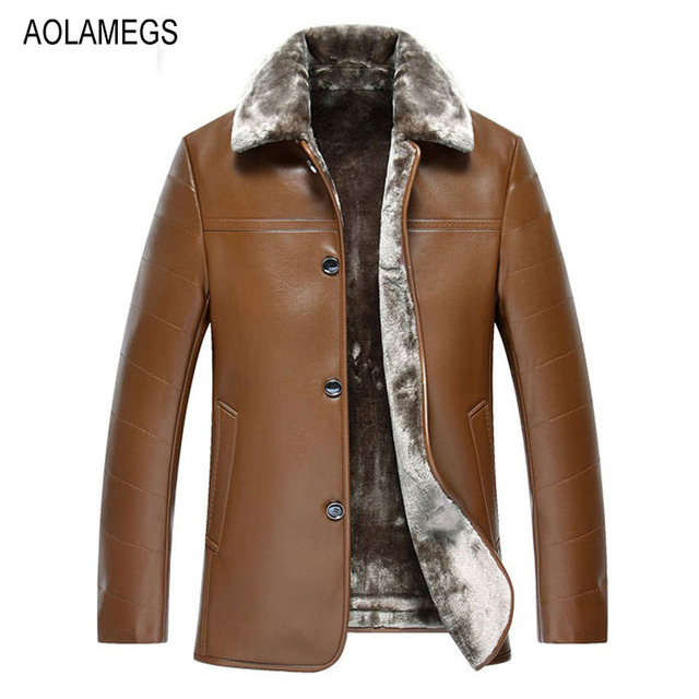 Aolamegs Mens Winter PU Leather Jacket Thicken Warm Fur Lining Leather Jacket Coat Windproof Parka Homme Business Casual Outwear