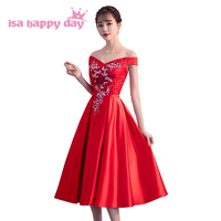 red tea length satin ball gown lace corset prom dress sweet 16 off the shoulder sexy boat neck ball gown dresses in red H4280