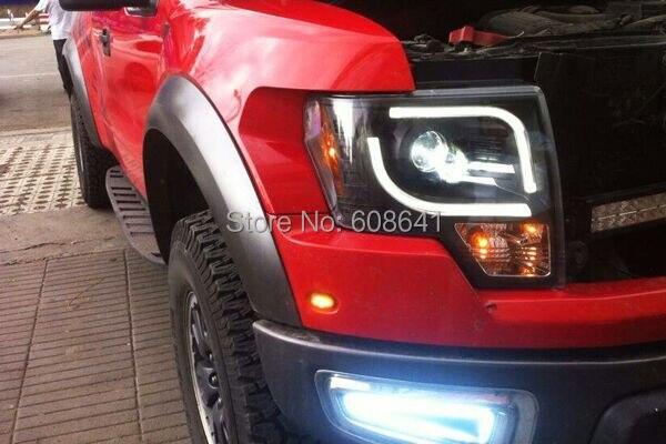 F150 Raptor LED Angel Eyes Head Light Black Color 2013-2014 year