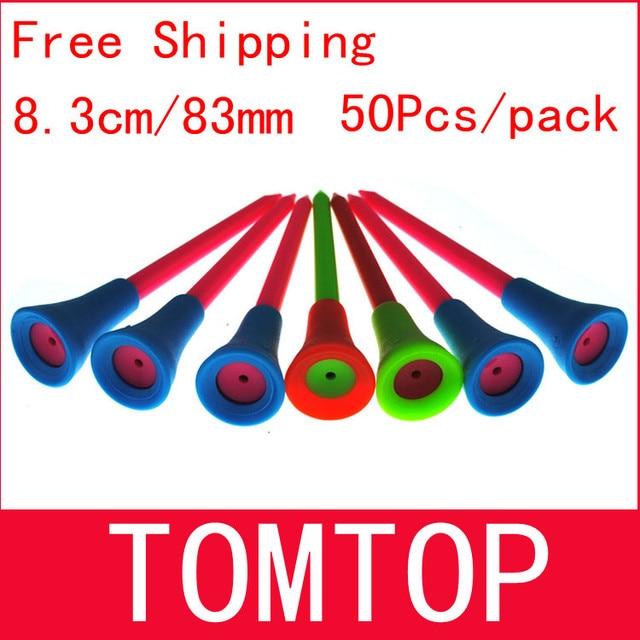 Бесплатная доставка 50 шт./пакет multi Цвет 8.3 см Пластик Новый Ти для гольфа резиновая Подушки Топ