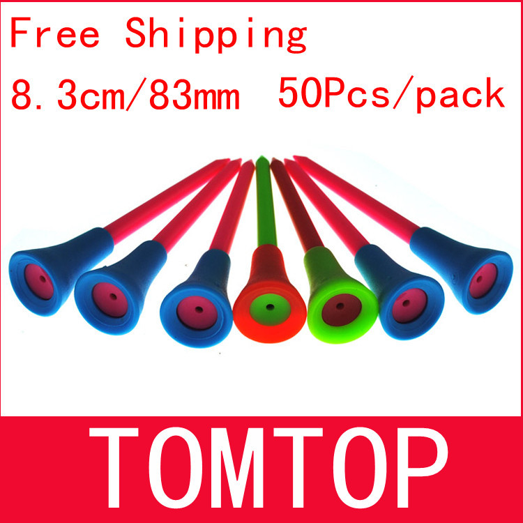 Free Shipping 50pcs/bag Multi Color 8.3CM Plastic New Golf Tees Rubber Cushion Top