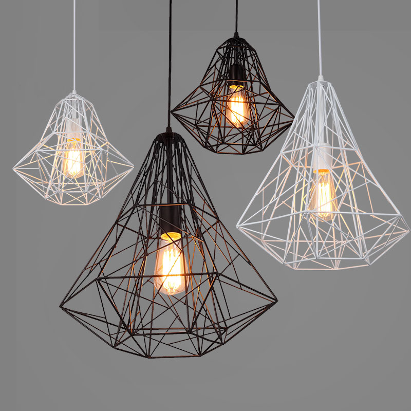Retro industry iron Loft retro industrial iron cage pendant lights personality cafe bar Nordic creative Diamond Lamp ZZP8061 iron industry wind style pendant lights nordic simple retro loft creative personality bar cafe bar single heads pendant lamp za page 4