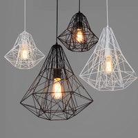 Retro industry iron Loft retro industrial iron cage pendant lights personality cafe bar Nordic creative Diamond Lamp ZZP8061