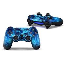 2 pcs Azul Do Crânio Adesivo de Vinil Do Decalque PS4 Controlador Skins Para SONY Dualshock 4 adesivo de pele