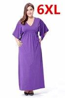 Fashion Plus Size 6XL Long Maxi Solid Purple Autumn Dresses Casual Wear Women Loose Dress Large Big Size 6XL