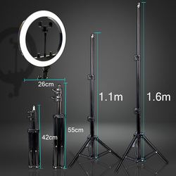 10 inch 26cm LED Selfie Ring Light Photography Three-speed Stepless Lighting Dimmable With Tripod For Makeup Video Live Studio