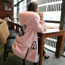 2016 Luxury Genuine Merino Sheep Fur Coat With Real Fox Fur Hood Winter Warm Women Wool Fur Outerwear Jacket Lady Clothing