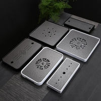 Chinese Kung fu Melamine and Black Stone Tea tray with Drainage water storage for puer tea ,Rectangle and square travel tea set