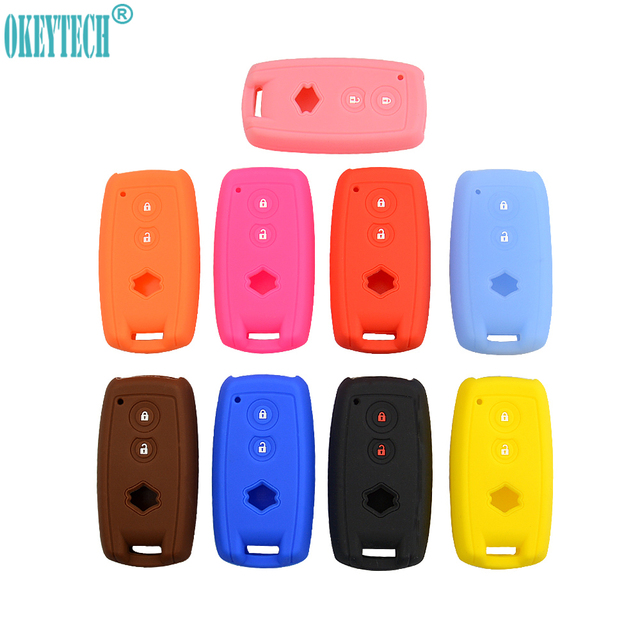 OkeyTech 2 Buttons Soft Silicone Rubber Car Key Case Cover For Suzuki SX4 2007 2008 2009 2010 2011 2012 Replacement Key Fob Bag