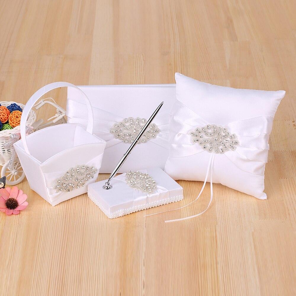 4 pièces/ensemble décoration de mariage Satin fleur fille panier anneau porteur oreiller livre d'invité et porte-stylo avec strass décor de fête